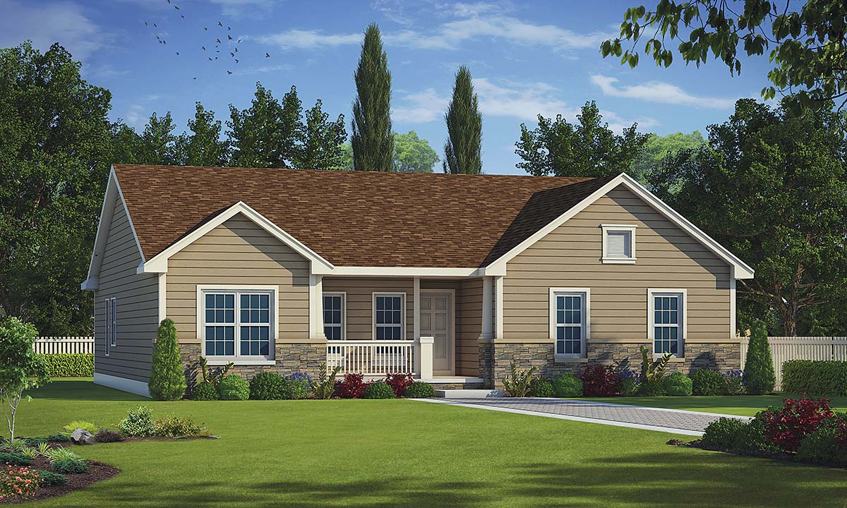 Traditional House Plan 75728 with 2 Beds, 3 Baths, 2 Car Garage Elevation
