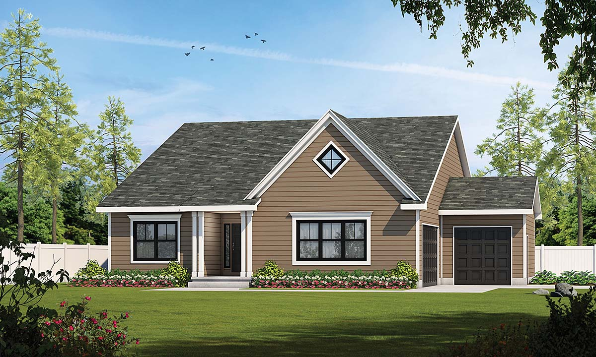 Traditional House Plan 75729 with 2 Beds, 3 Baths, 2 Car Garage Front Elevation
