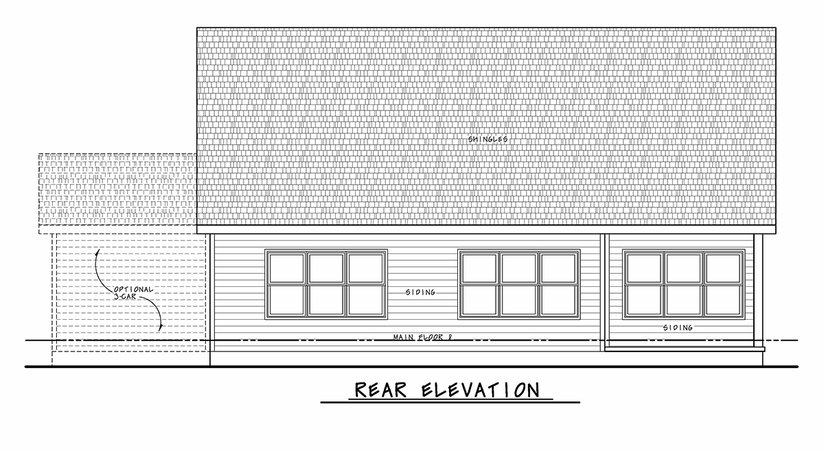 Traditional House Plan 75729 with 2 Beds, 3 Baths, 2 Car Garage Rear Elevation