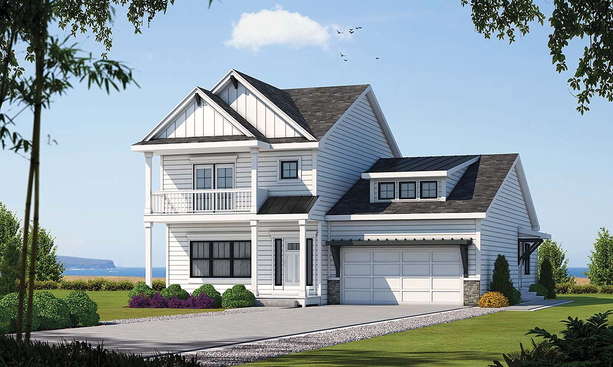 Coastal, Traditional House Plan 75730 with 4 Beds, 4 Baths, 2 Car Garage Front Elevation