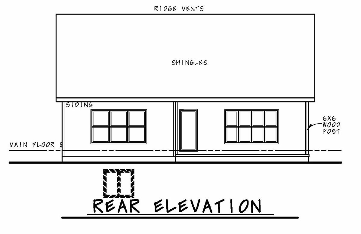 Craftsman, Tudor House Plan 75733 with 2 Beds, 2 Baths, 2 Car Garage Rear Elevation
