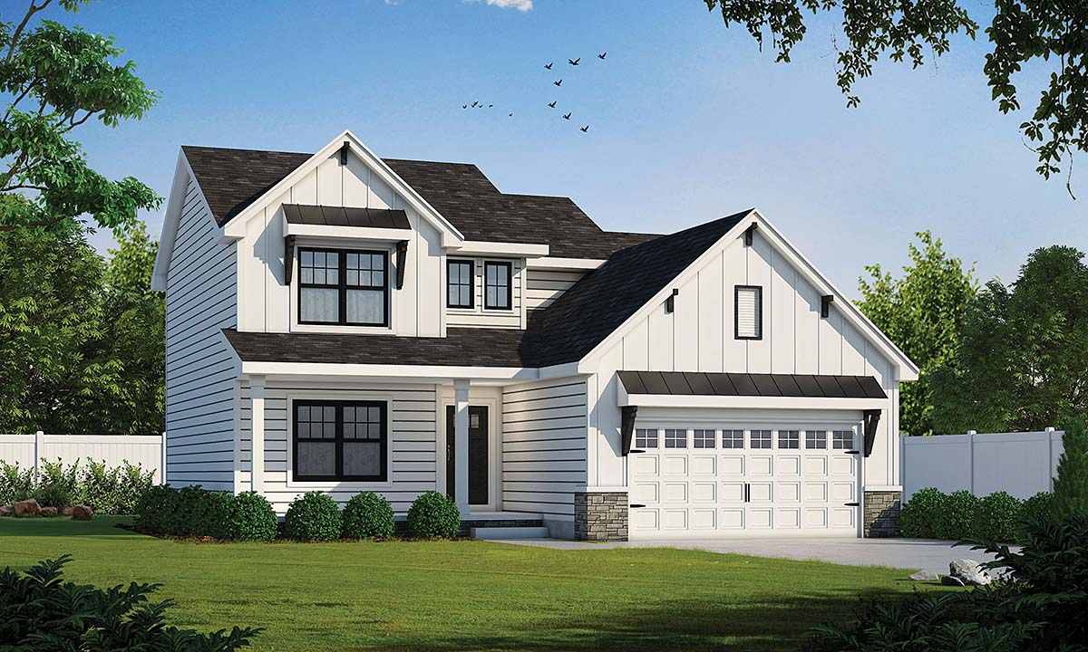 Farmhouse House Plan 75734 with 3 Beds, 3 Baths, 2 Car Garage Elevation