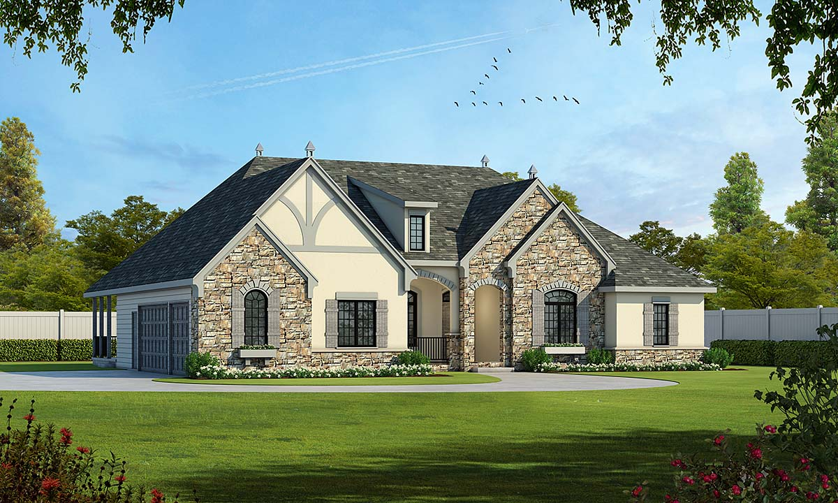 Craftsman, French Country House Plan 75737 with 4 Beds, 4 Baths, 3 Car Garage Elevation