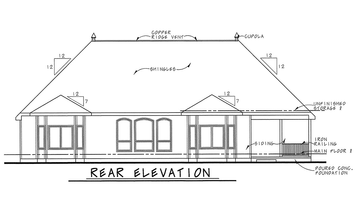 Craftsman, French Country House Plan 75737 with 4 Beds, 4 Baths, 3 Car Garage Rear Elevation