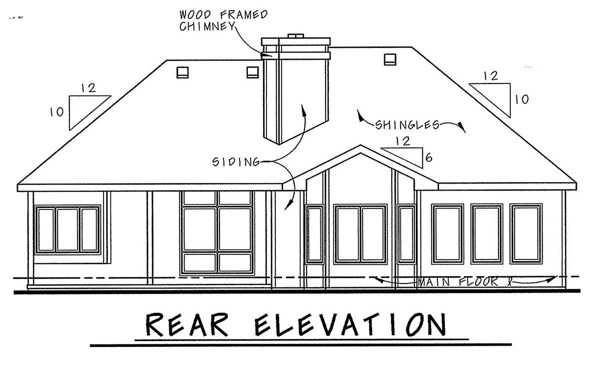 Mediterranean House Plan 75738 with 1 Beds, 2 Baths, 2 Car Garage Rear Elevation
