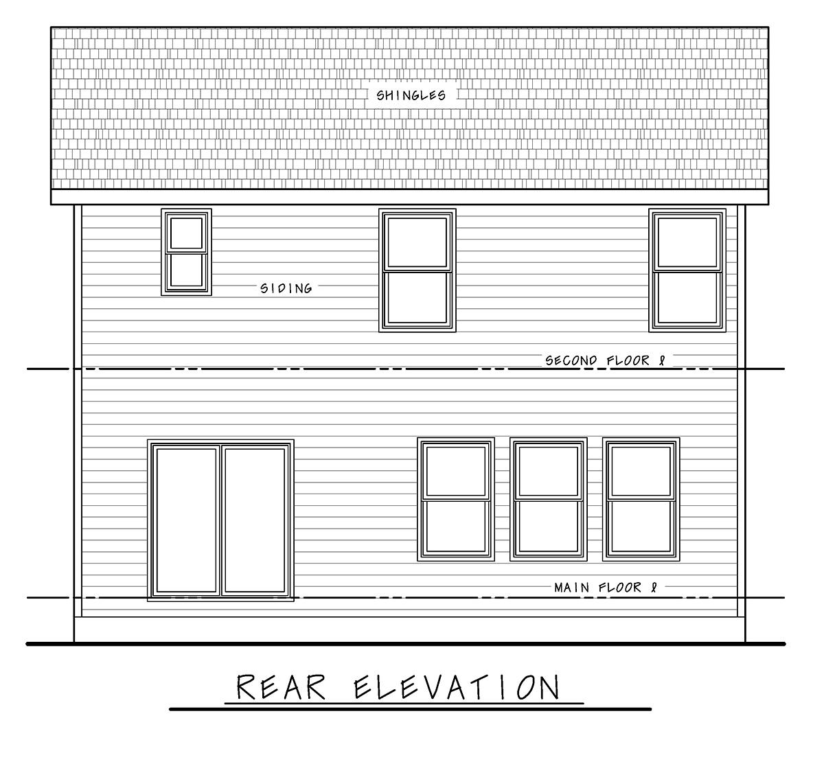 Farmhouse House Plan 75739 with 4 Beds, 3 Baths, 2 Car Garage Rear Elevation