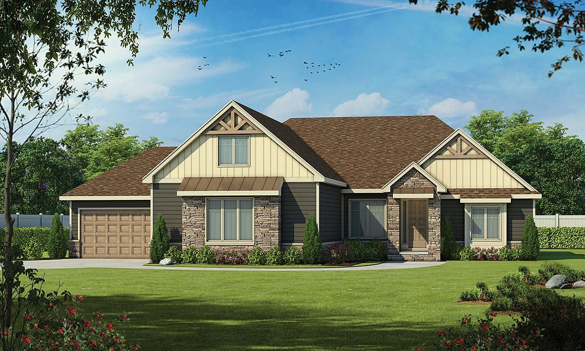 Craftsman, Traditional House Plan 75741 with 4 Beds, 4 Baths, 4 Car Garage Front Elevation