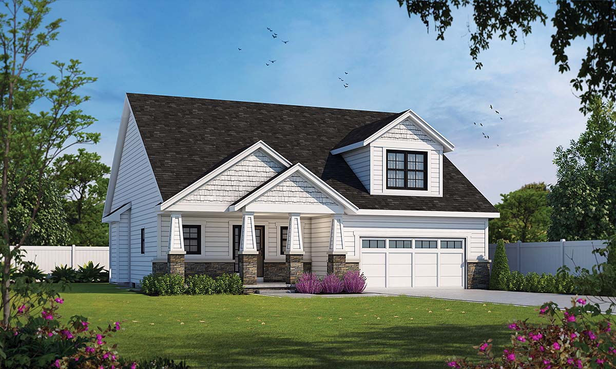 Bungalow, Cottage, Country, Craftsman House Plan 75742 with 3 Beds, 3 Baths, 2 Car Garage Elevation