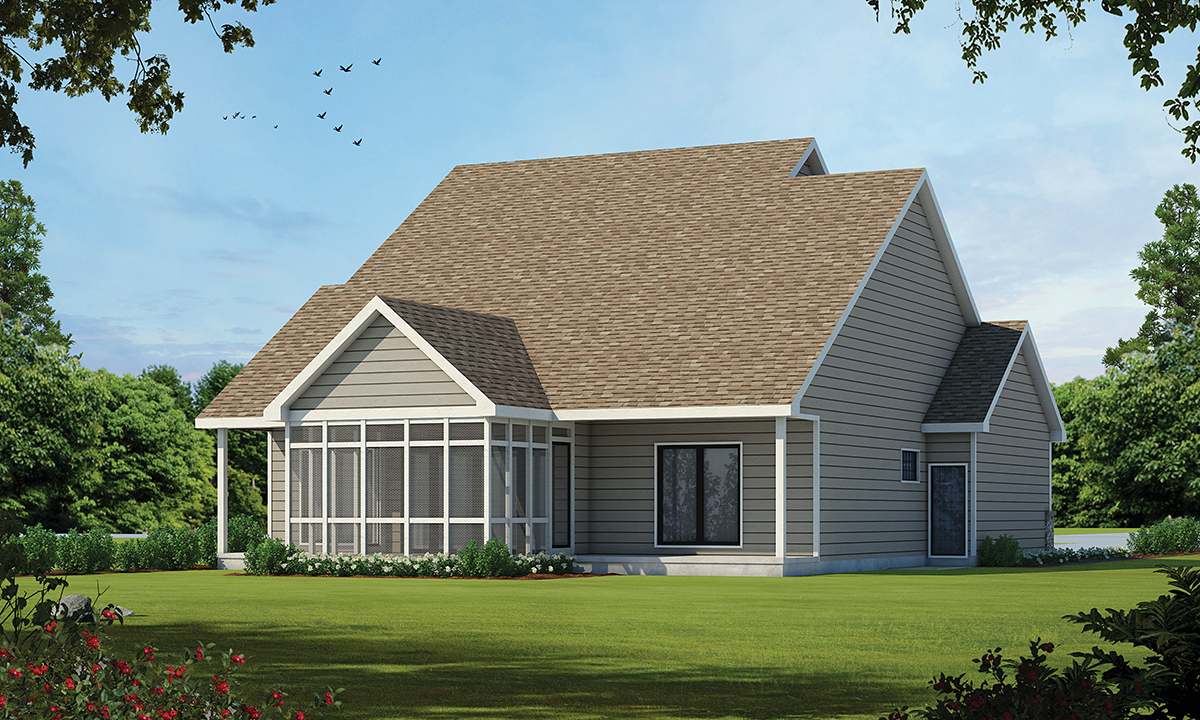 Bungalow, Cottage, Country, Craftsman House Plan 75743 with 3 Beds, 3 Baths, 2 Car Garage Rear Elevation