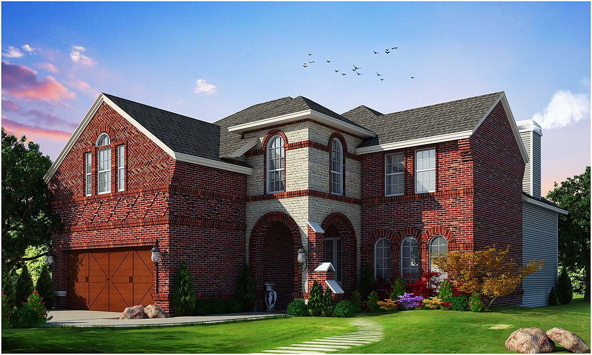 European House Plan 75744 with 4 Beds, 4 Baths, 2 Car Garage Elevation