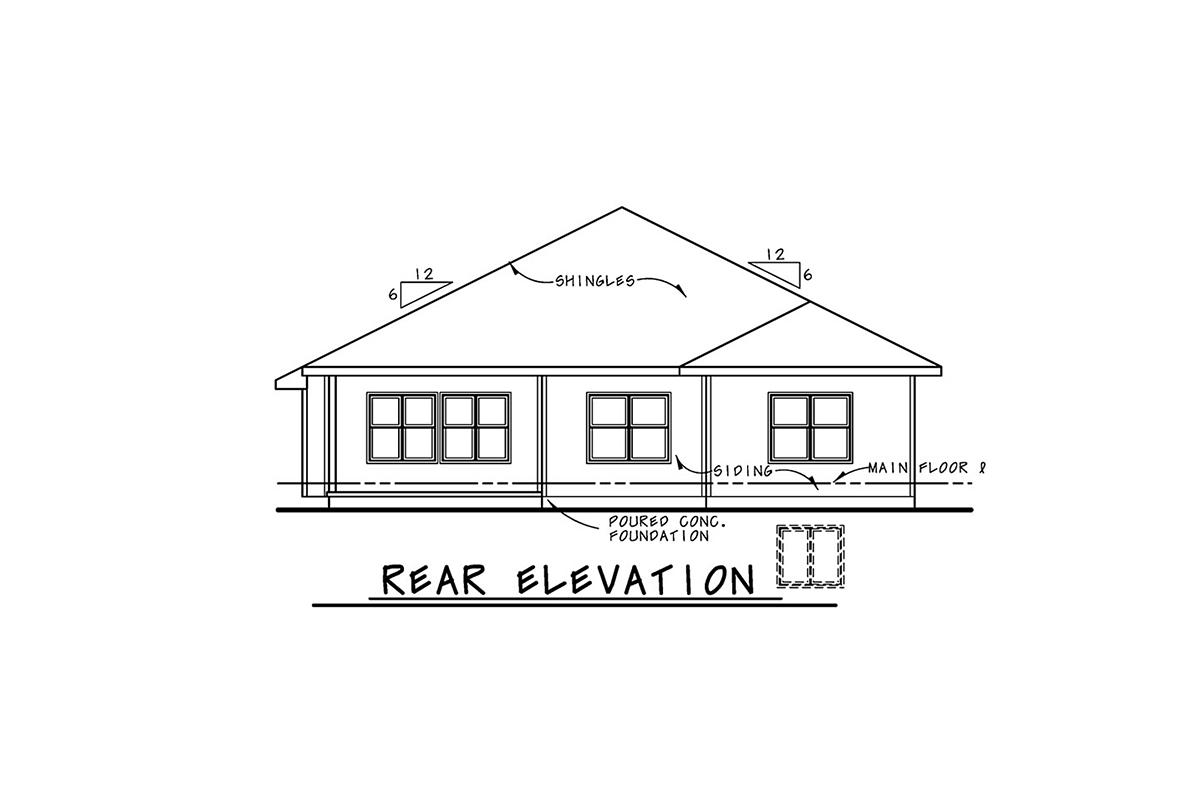 Mediterranean House Plan 75745 with 3 Beds, 2 Baths, 2 Car Garage Rear Elevation
