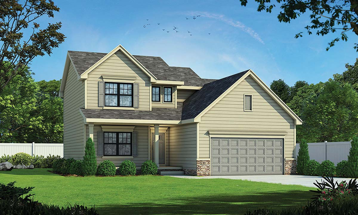 Traditional House Plan 75756 with 3 Beds, 3 Baths, 2 Car Garage Elevation