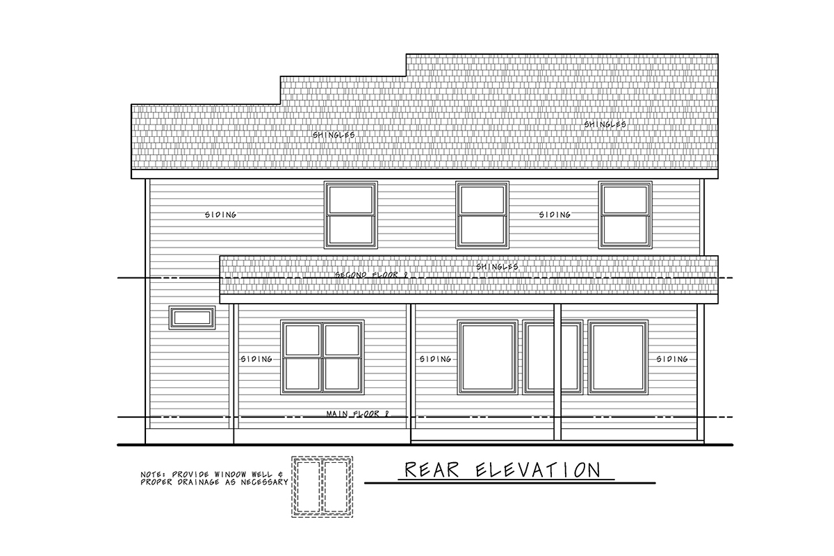 Traditional House Plan 75756 with 3 Beds, 3 Baths, 2 Car Garage Rear Elevation