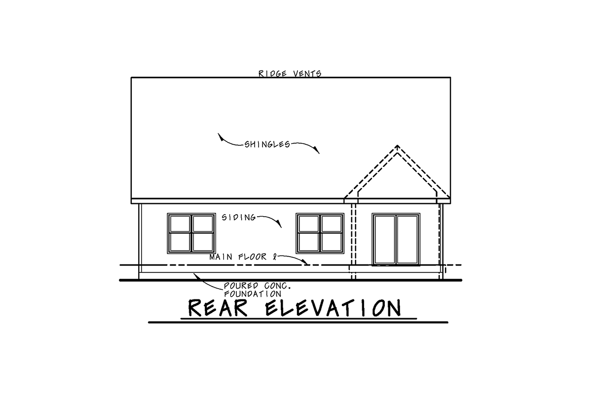 Craftsman House Plan 75757 with 4 Beds, 4 Baths, 2 Car Garage Rear Elevation