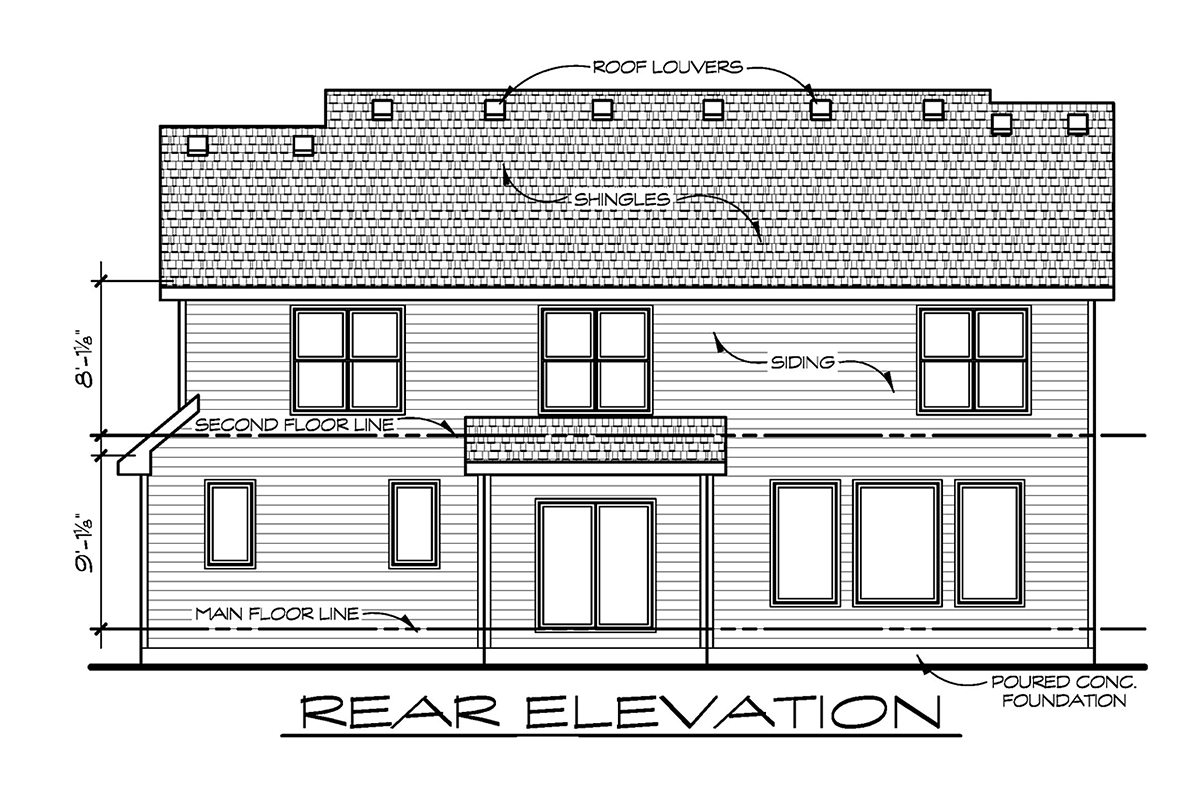 Craftsman, Traditional House Plan 75759 with 4 Beds, 3 Baths, 3 Car Garage Rear Elevation