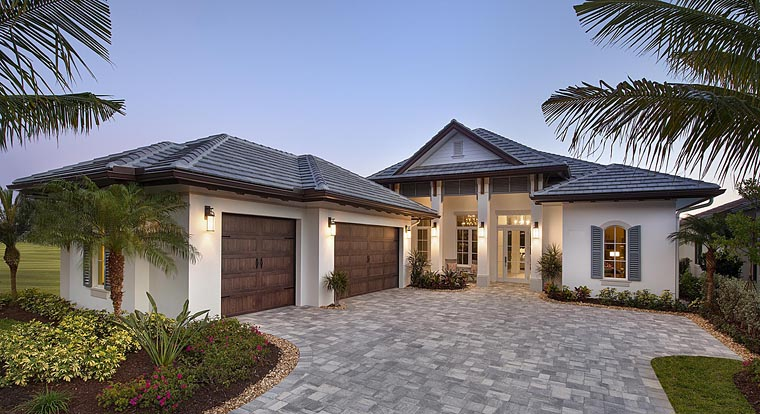 Florida, Mediterranean House Plan 75927 with 3 Beds, 4 Baths, 3 Car Garage Elevation