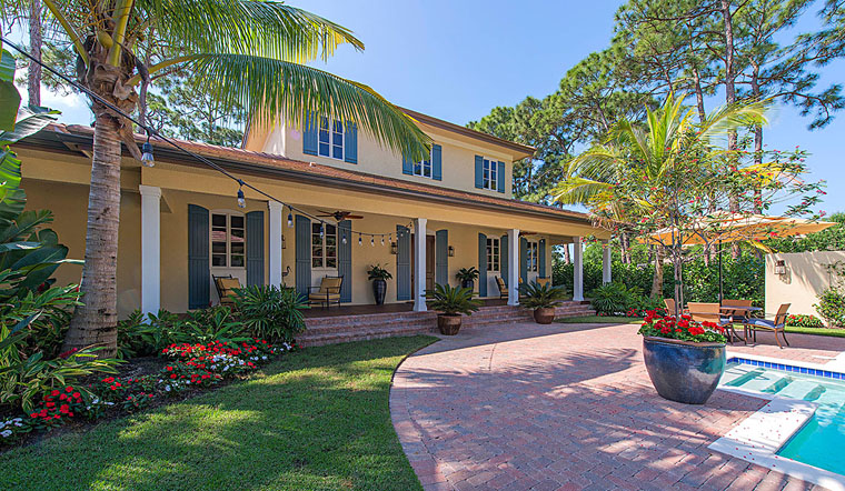 Colonial, Florida, Mediterranean House Plan 75928 with 3 Beds, 4 Baths, 3 Car Garage Elevation