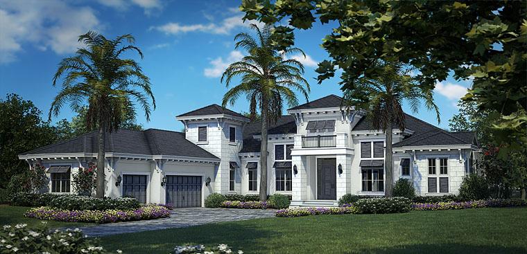 Florida, Mediterranean House Plan 75929 with 4 Beds, 6 Baths, 3 Car Garage Elevation