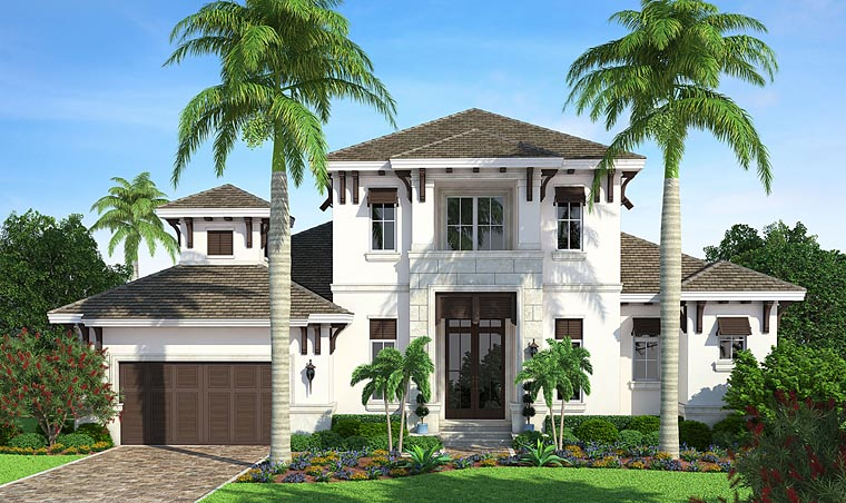 Florida, Mediterranean House Plan 75931 with 4 Beds, 4 Baths, 2 Car Garage Elevation