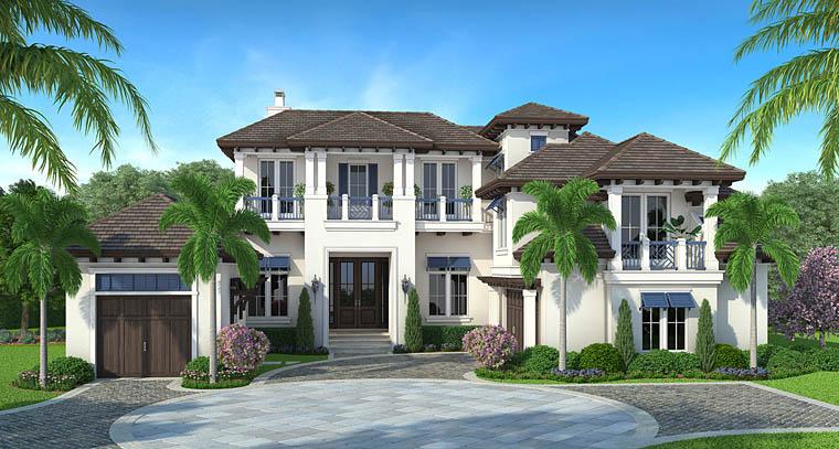 Florida, Mediterranean House Plan 75956 with 5 Beds, 7 Baths, 3 Car Garage Elevation