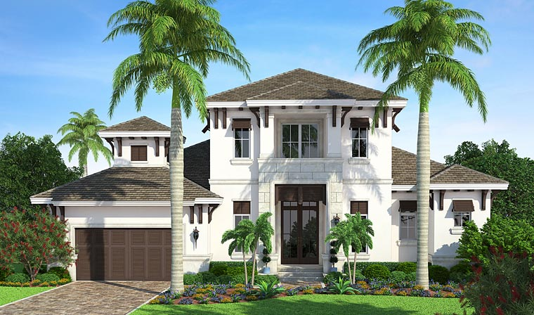 Coastal, Florida, Mediterranean House Plan 75960 with 4 Beds, 4 Baths, 2 Car Garage Elevation
