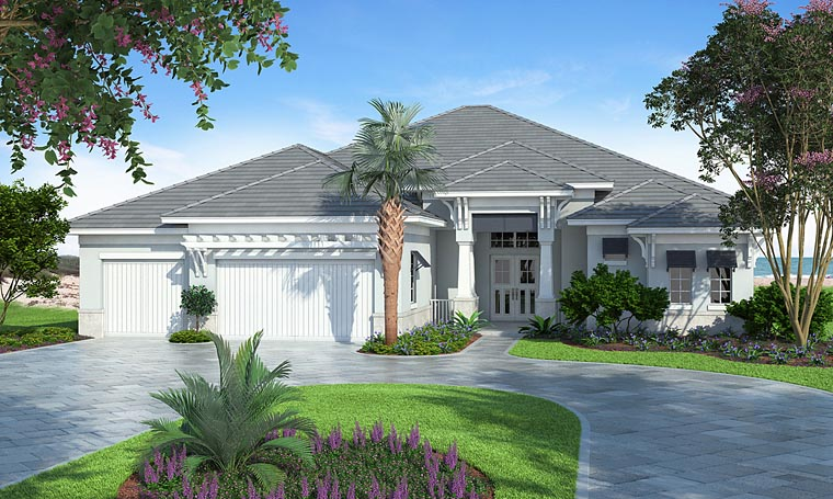 Coastal, Florida, Mediterranean House Plan 75965 with 4 Beds, 4 Baths, 3 Car Garage Elevation