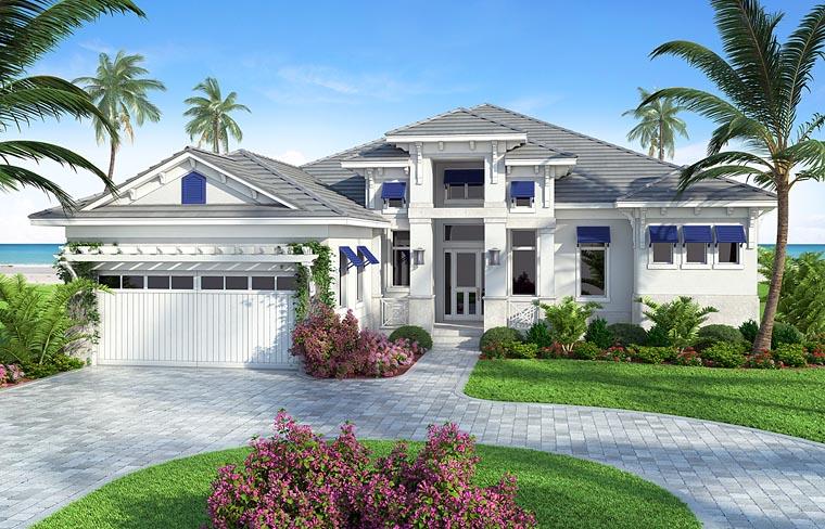 Coastal, Florida, Mediterranean, Southern House Plan 75969 with 4 Beds, 4 Baths, 2 Car Garage Front Elevation