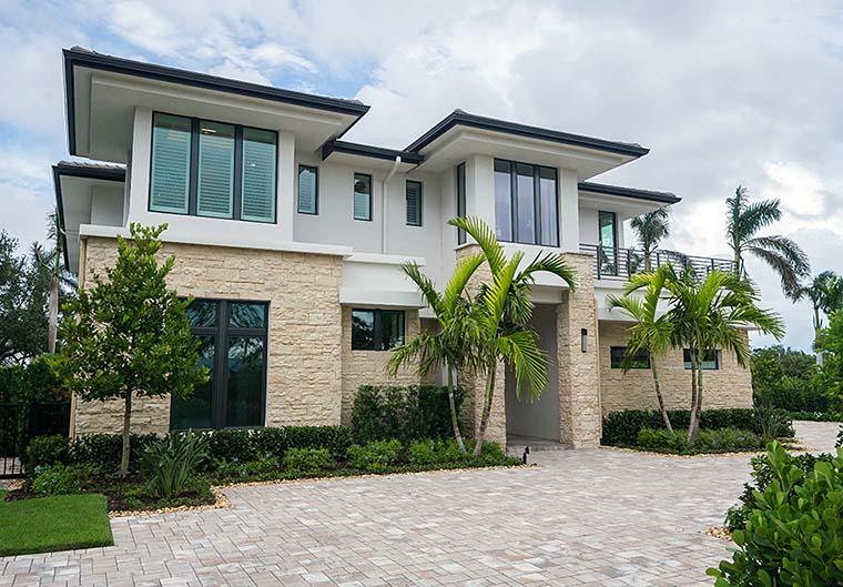 Coastal, Florida, Mediterranean, Modern, Prairie House Plan 75973 with 4 Beds, 6 Baths, 3 Car Garage Front Elevation