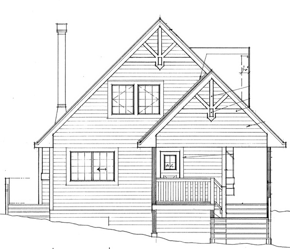 Cabin, Contemporary, Country House Plan 76001 with 2 Beds, 2 Baths Rear Elevation
