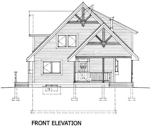 Cabin, Narrow Lot House Plan 76011 with 2 Beds, 2 Baths Rear Elevation