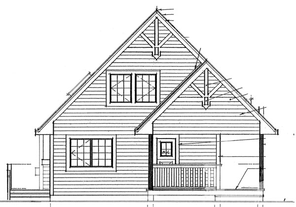 Cabin, Contemporary House Plan 76012 with 3 Beds, 2 Baths Rear Elevation