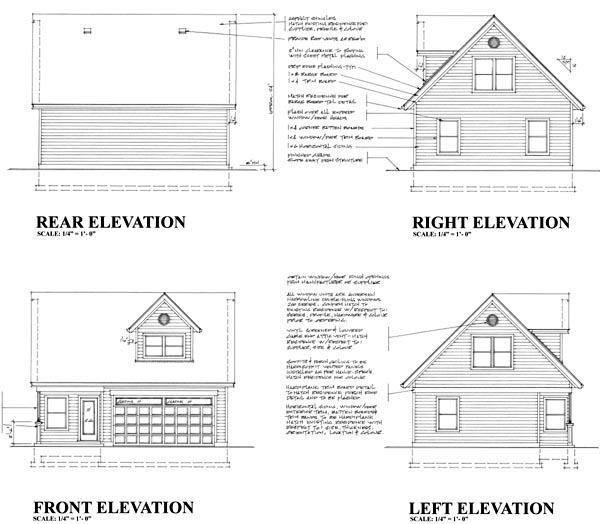 2 Car Garage Plan 76013 Rear Elevation