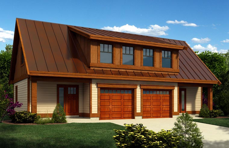 2 Car Garage Apartment Plan 76021 with 1 Beds, 1 Baths Front Elevation