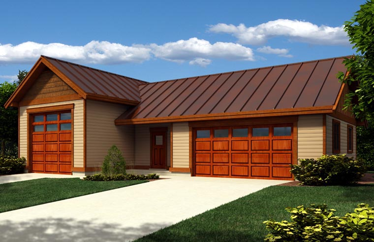 3 Car Garage Plan 76022, RV Storage Elevation