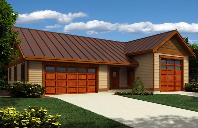 3 Car Garage Plan 76028, RV Storage Elevation