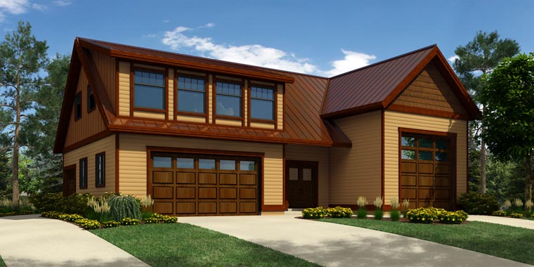 4 Car Garage Apartment Plan 76029 with 1 Beds, 3 Baths, RV Storage Front Elevation
