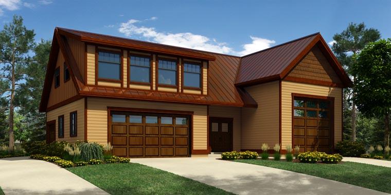 4 Car Garage Apartment Plan 76029 with 1 Beds, 3 Baths, RV Storage Elevation