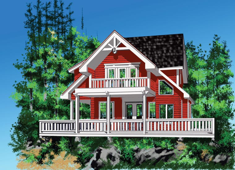 Cabin, Cottage House Plan 76036 with 4 Beds, 3 Baths Front Elevation