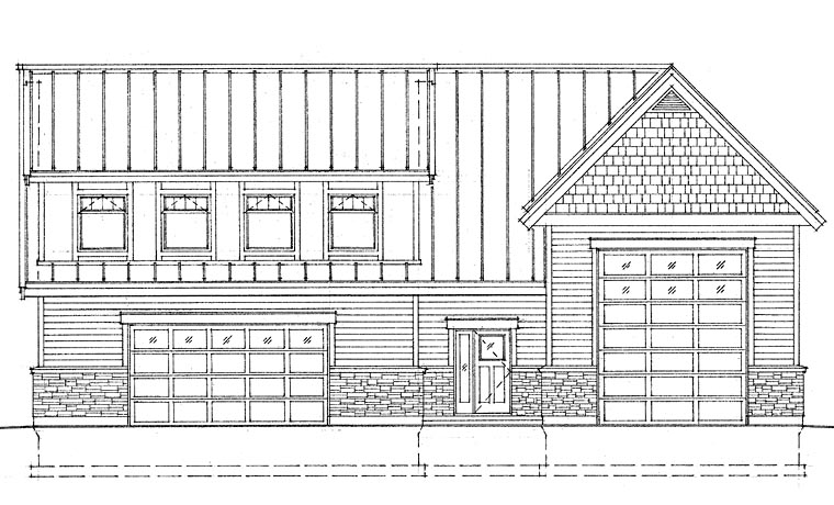 Craftsman, Traditional 4 Car Garage Apartment Plan 76039 with 1 Beds, 3 Baths, RV Storage Front Elevation