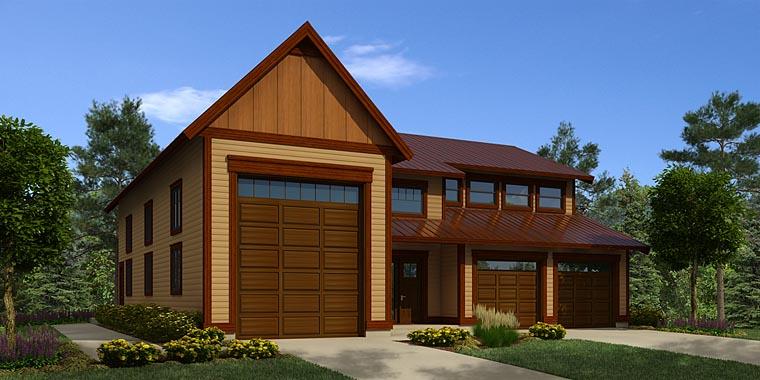 Traditional 3 Car Garage Plan 76056, RV Storage Front Elevation