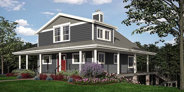 Cabin, Coastal, Cottage, Country House Plan 76066 with 4 Beds, 3 Baths Front Elevation