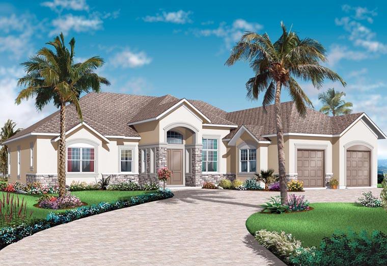 Florida, Mediterranean House Plan 76102 with 3 Beds, 3 Baths, 2 Car Garage Elevation