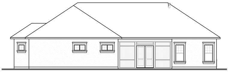 Florida, Mediterranean House Plan 76102 with 3 Beds, 3 Baths, 2 Car Garage Rear Elevation