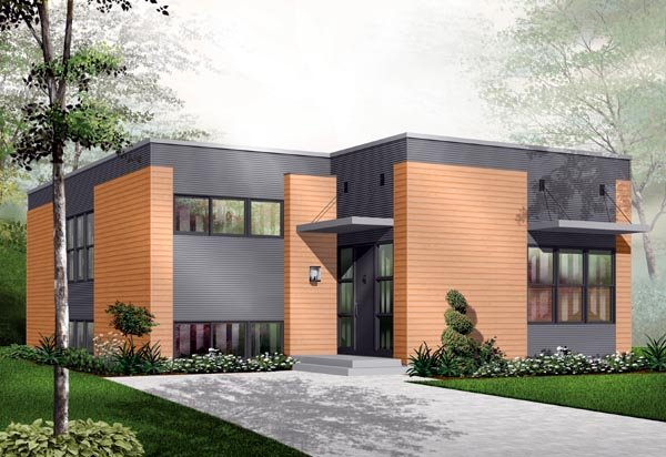 Contemporary, Narrow Lot, One-Story House Plan 76108 with 2 Beds, 1 Baths Front Elevation