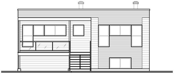 Contemporary, Narrow Lot, One-Story House Plan 76108 with 2 Beds, 1 Baths Rear Elevation