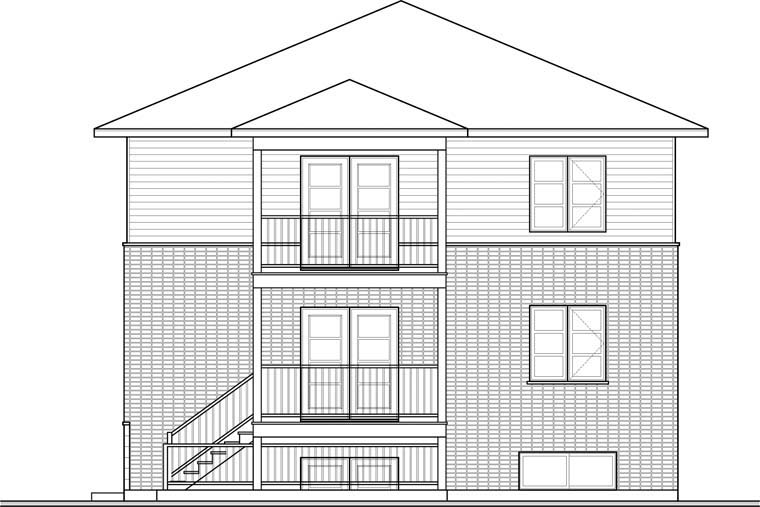 Contemporary Multi-Family Plan 76115 with 6 Beds, 3 Baths Rear Elevation