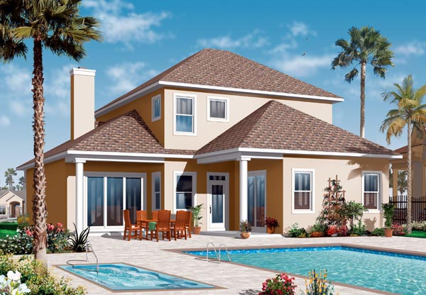 Florida, Mediterranean House Plan 76130 with 4 Beds, 4 Baths, 2 Car Garage Rear Elevation