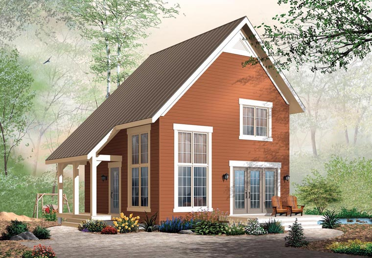Cabin, Traditional House Plan 76149 with 2 Beds, 2 Baths Front Elevation