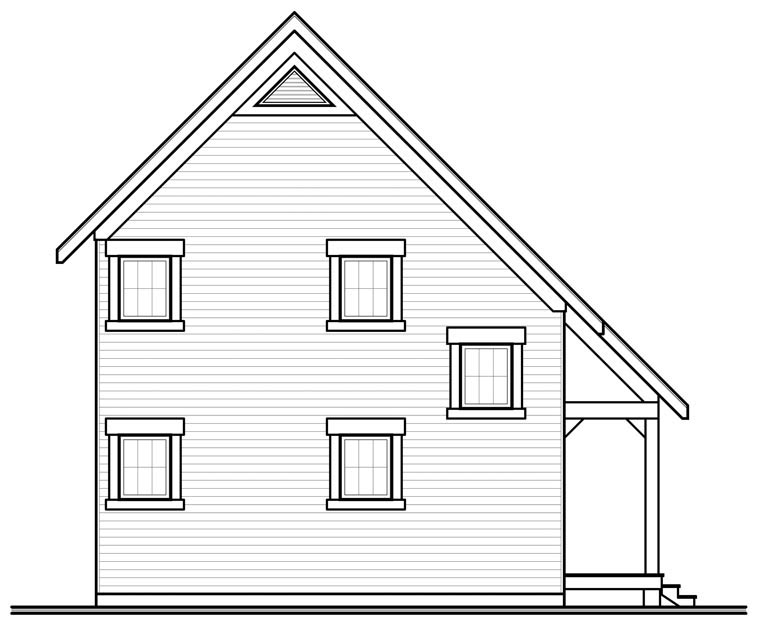 Cabin, Traditional House Plan 76149 with 2 Beds, 2 Baths Rear Elevation