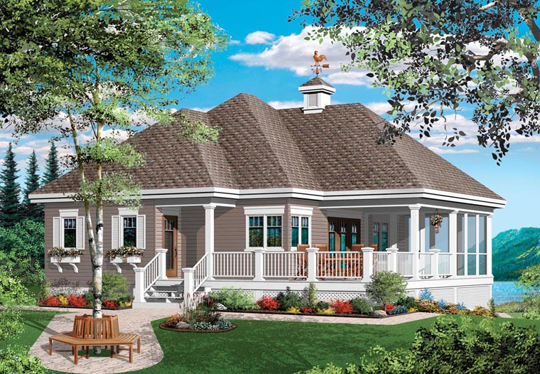 Traditional House Plan 76152 with 1 Beds, 1 Baths Elevation